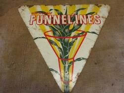 Vintage Funnel'ines Seed Corn Sign Extremely Rare Antique Farm Cattle 10197
