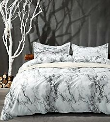 Nanko Queen Bedding Duvet Cover Set White And Black Marble Printed 3 Piece - 100