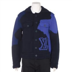 Louis Vuitton Rm202m Wool Knit Jacket M Menand039s Navy Lv