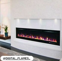 50 60 72 82 Inch Led Digital Flames Black/white Inset Wall Mounted Electric Fire
