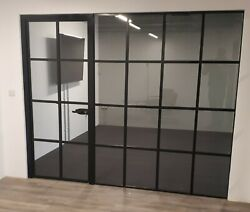 Axis Armature Internal Door With Sidelight Black Frame Crittall Style Partition