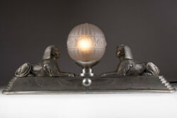 Antique Table Lamp Art Deco Era With Figures Sphinxes France 1920s