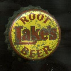 Used Lake's Root Beer Crown Bottle Cap W Partial Whs On Edge And Orig Cork