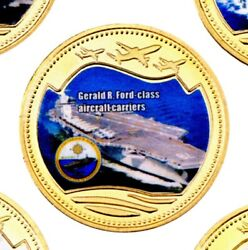 U.s. Navy Aircraft Carrier Uss Gerald Ford Gold Plated Challenge Coin W Box/coa