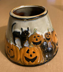 Yankee Halloween Pumpkin and Black Cat Candle Shade Topper 4 3 4quot;