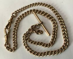 """Vtg 18"""" 9ct 9k Red Rose Gold Curb Link Albert T Bar Watch Chain Necklace 36.3g"""