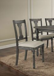 Set Of 2 Farmhouse Side Chairs Solid Wood Padded Seat Kitchen Dining Furniture