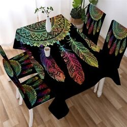 Rainbow Hippie Dreamcatcher Rectangle Tablecloth Chair Covers Dining Table Set