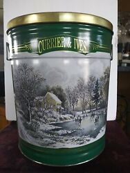 Rare Currier And Ives Large Tin Bertels Can Company Winter Skating Scene 14.25