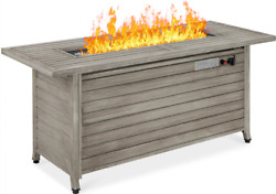 Large Fire Pit Table Lp Propane Burner Lid Cover Outdoor Backyard Patio Gray