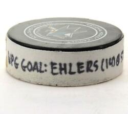 Nikolaj Ehlers Winnipeg Jets Gu Goal Puck From 12/20/18 @ Sj Sharks - Goal 2/3