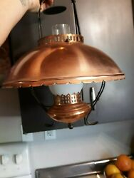 Vintage Underwriters Laboratories Copper Hurricane Gone With The Wind Lamp Swag