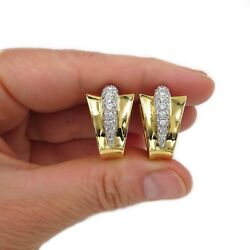 See Video Vintage Glam 1.70ct Diamond Pave Huggie Earrings 18k Yellow Gold 28g