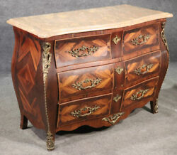 French Louis Xv Style Kingwood Bombe Three Drawer Commode Dresser