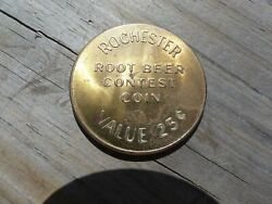 Vintage Rochester Root Beer Contest Coin 25 Cents Soda Bottle Go With