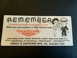 1940and039s Qualitybilt Woodwork Farley And Loetscher Co Dubuque Iowa Ink Blotter