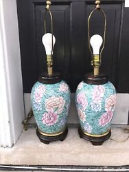 Vintage Pair Asian Style Ceramic Hunter Green Frederick Cooper Table Lamps 1992