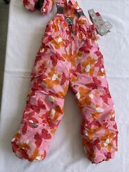 Jupa Snow Bibs Pink Butterflies Ski Pants Size 5 Girls And Mittens New With Tags