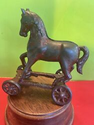 Cast Iron Horse On Wheels Still Bank A.c.williams 1910andrsquos Era Very Hard To Find