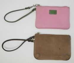 Lot of 2 Coach Wristlets Pink Nylon Brown Suede 6quot;x4quot; Need Cleaning $19.99