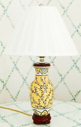 Small Vintage Porcelain Lamp With Wooden Base And Shade