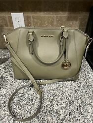 Michael Kors Ciara Messenger Satchel Crossbody Leather Handbag Duffle Green $95.00