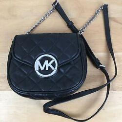 New Michael Kors Womens Black Quilted Leather Silver Chain Small Satchel Purse $39.99