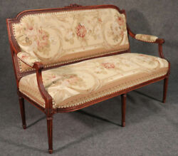 French Louis Xvi Style Walnut Settee Canape With Tapestry Upholstery Circa 1930