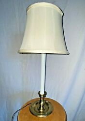 Vintage Stiffel Candlestick Table Lamp Candle Ivory Mid Century Heavy Brass Mcm
