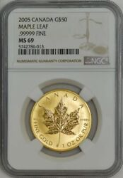2005 Canada Gold 50 Maple Leaf Ms69 Ngc Experimental Issue 943699-3 Mintage 400