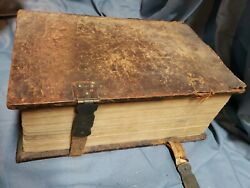 Antique Huge 1765 German Bible With Images With Family History Pages Intact