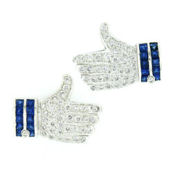 18k White Gold 2.0ctw Sapphire And Diamond Thumbs Up Like Statement Earrings