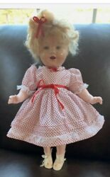 Vintage Antique 20 Shirley Temple Doll 1930's Wearing A Beautiful Red And White