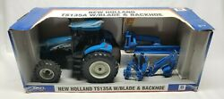 New Holland Ts135a Tractor With Blade And Backhoe 1/16 Scale By Ertl Rare Nib