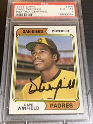 1974 Topps Dave Winfield Psa 8 Rookie Autograph Auto Rc Dna Signed Yankees