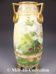 Nippon Hand Painted Lilies Raised Gold And Jewels Tri Handles Vase