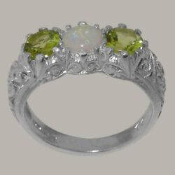 18ct White Gold Natural Opal And Peridot Womens Trilogy Ring - Sizes J To Z