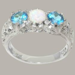18ct White Gold Natural Opal And Blue Topaz Womens Trilogy Ring - Sizes J To Z