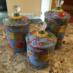 Mackenzie Childs Canisters Flower Market Blue, Small, Medium And Large Set Of 3