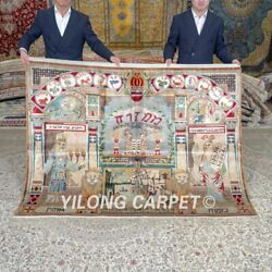 Yilong 6'x4.5' Handknotted Silk Carpet Wailing Wall Pictorial Tapestry Mc660a