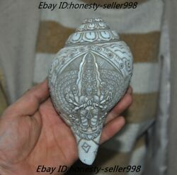 Old Tibetan Buddhism Shell Carved 1000 Arm Kwan-yin Conch Trumpet Horn Shell