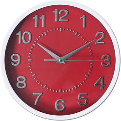 Decor Silent Wall Clocks 10quot; 3D Numbers Red Dial Non ticking Decorative Wall to
