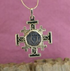 Solid 14k Yellow Gold Jerusalem Cross Pendant With Widows Mite Coin New Lovely