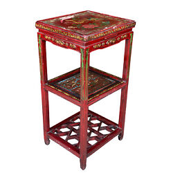 Vintage Chinese Red Lacquered Birds Of Paradise Motif Plant Stand End Table