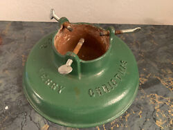 Vintage Cast Iron Christmas Tree Stand Brillion Wisconsin Happy New Year Green