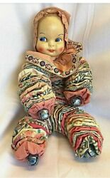 Vintage Antique Handmade Pixie Elf Clown Doll With Jingle Bells On Hands And