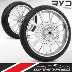 Diode Chrome 21 Fat Front And Rear Wheels, Tires Package Dual Rotors 00-07 Bagger