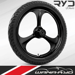 Amp Blackline 21x5.5 Fat Front Wheel And 180 Tire Package 08-20 Harley Touring
