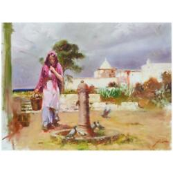 Pino The Water Fountain Hand Embellished Signed Canvas Italian-american Artist