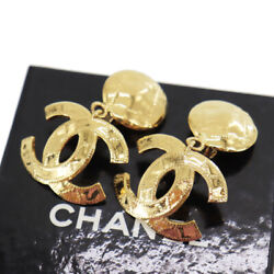 Cc Logos Circle Earrings Gold Clip-on 94p France Vintage Auth Ad237 Y